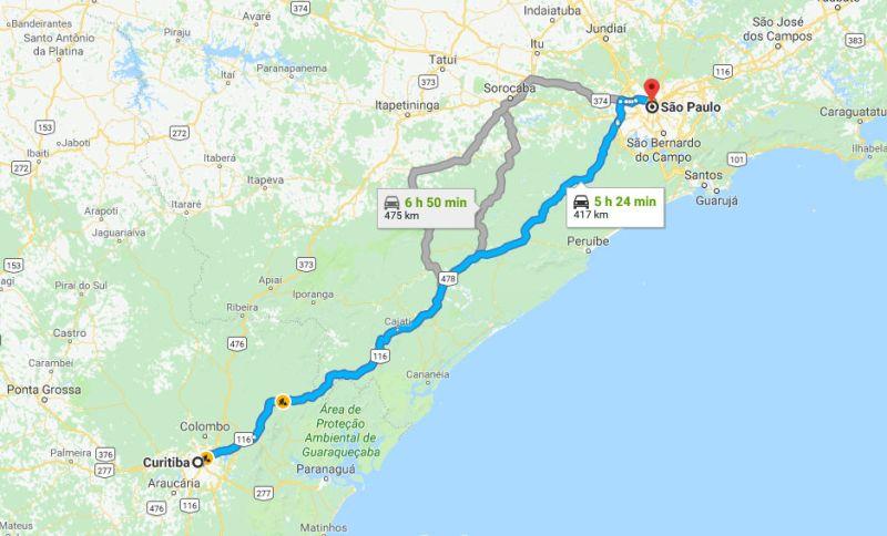 Mapa ra Road Trip de Curitiba para São Paulo