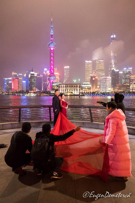 Shanghai - fotografie de nunta noaptea pe Bund - culise