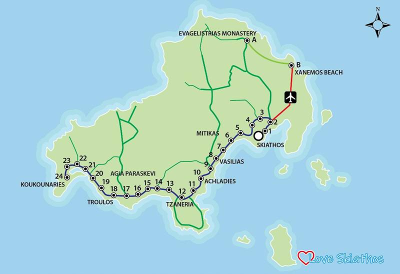 harta transport public Skiathos - Skiathos, insula ta privată în extrasezon