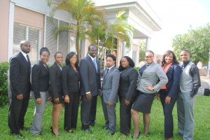 Sherman Bethel - Treasure, Lowrell Edgecombe - Constitutional Committee Chairperson, Crystal Newman - Year II Representative, Tamar Moss -Moot Committee Chairperson, Ra'Monne Gardiner - EDLSSA President, Crispin Hall- EDLSSA Vice President, Krishner Higgins- EDLSSA Secretary, Theominique Nottage - Publication Committee Chairperson, Kimberley Miller - Six Month Class Representative, Krispin Sands - Library Representative Missing: Akeira Martin - Social Committee Chairperson, Antania Rolle-Nielly Publications Committee Chairperson, Daniel Davies - Year I Representative