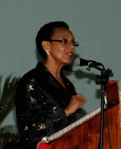 Sen. the Hon. Allyson Maynard-Gibson, Attorney General of The Bahamas giving her commencement address at the Norman  Manley Law School's Presentation Ceremony on September 28, 2013