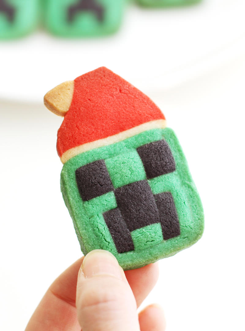 Christmas Minecraft Creeper Cookies