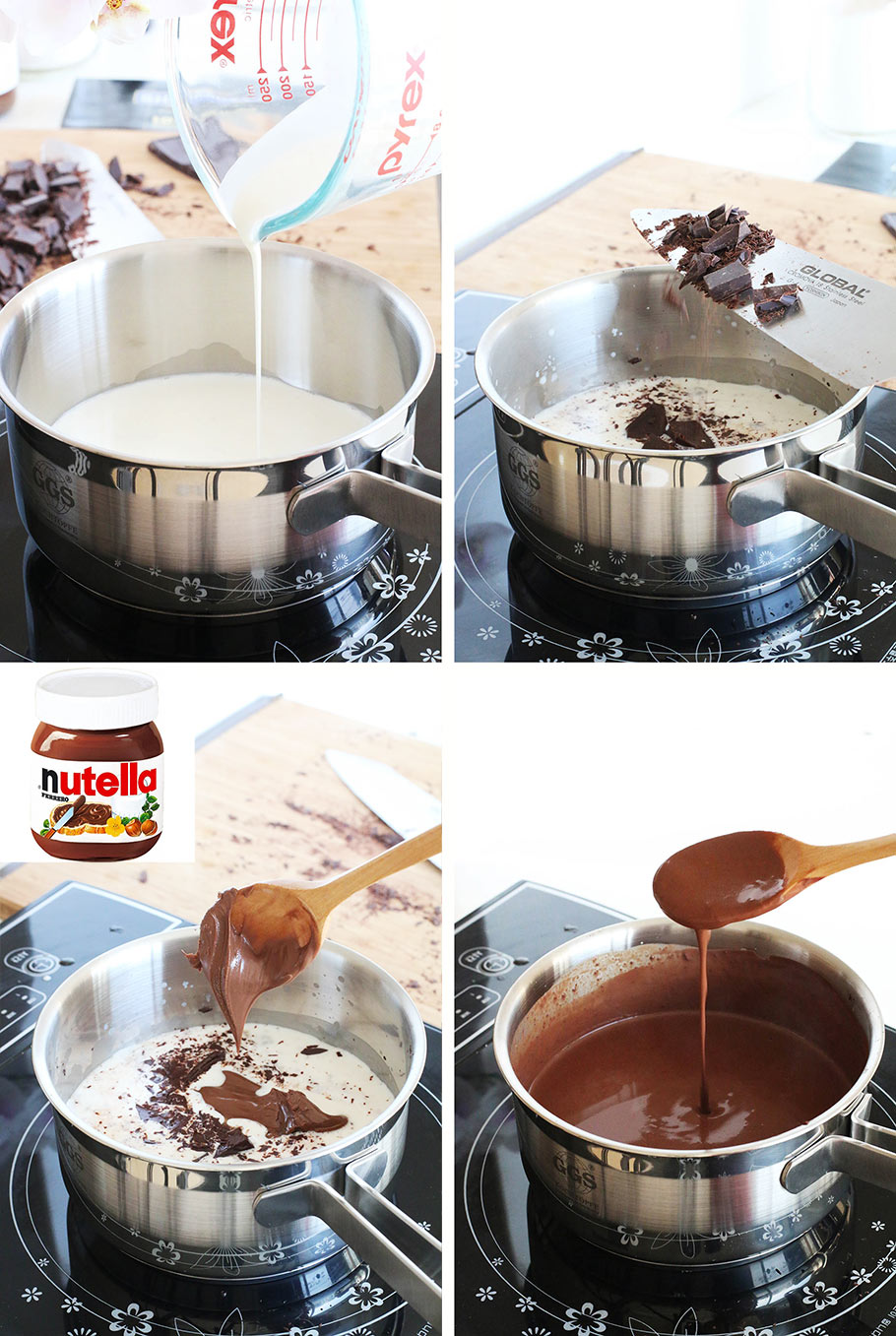 Nutella hot chocolate with real dark chocolate. Make serious Parisian hot chocolate into interesting with Nutella!