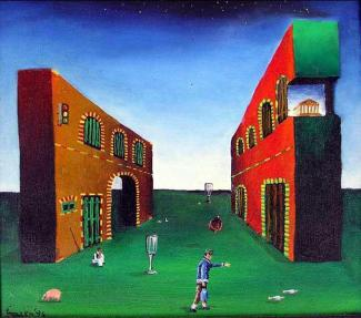 Grandfathers dream, 30x30 cm, oil on canvas, 1993.