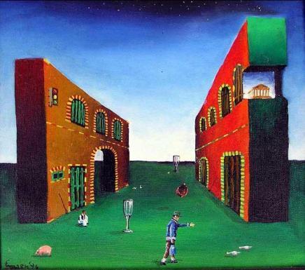 Grandfathers dream, 30x30 cm, oil on canvas, 1993.