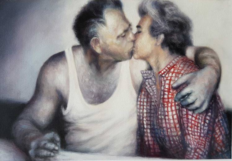 """""""Kiss"""" oil on canvas, 40x30 cm, 2018."""