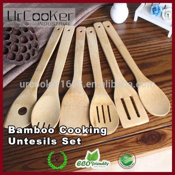 kitchen tool set moen brushed nickel faucet 厨房6pcs服务工具集炊具天然木竹烹饪 amp 用具 厨房工具集