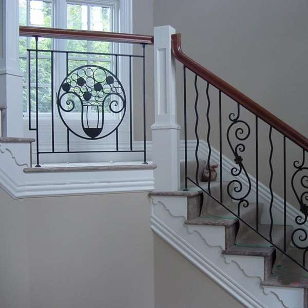 Outdoor Balcony Wrought Iron Stair Railing Parts Pipe Cast Veranda | Wrought Iron Steps Outdoor | Wood Interior | Current | Iron Handrail | Staircase | Backyard