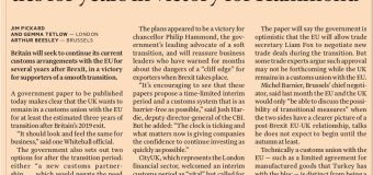 FT EMBARGOED FRONT PAGE STORY: Ministers seek to retain EU customs ties for years in Victory for Hammond #tomorrowspaperstodaypic.twitter.com/dEsXViYlKz