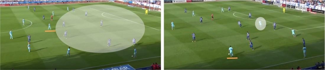 A la izquierda, el vaciado en el ataque del Barça cuando Messi tenía que bajar a mediocampo, y a la derecha los movimientos de Rakitic para compensarlo.