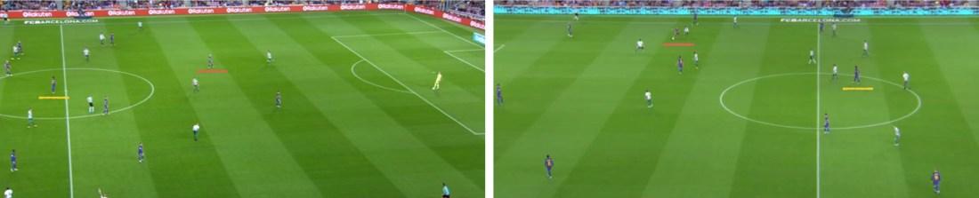 - Las diferentes alturas de Iniesta y Paulinho dependiendo del equipo que tuviera el balón.-