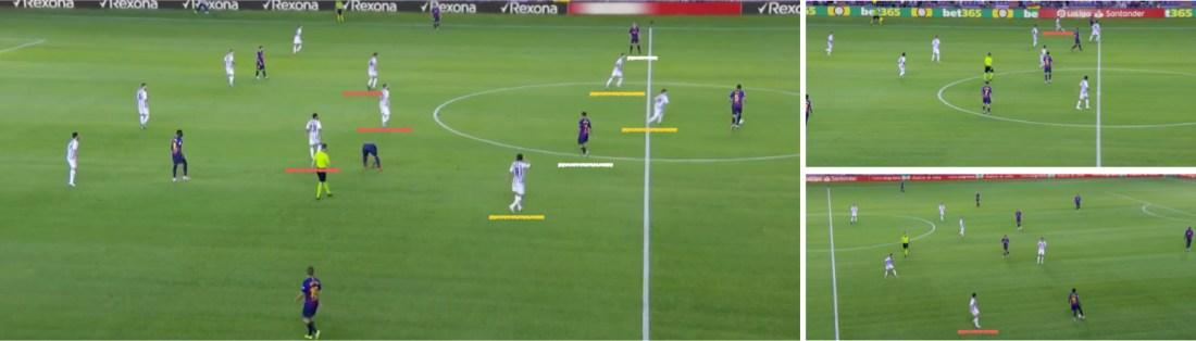 """- La línea defensiva """"extra"""" del Valladolid, y la posición adelantada de sus laterales siguiendo a Messi y Dembélé. -"""