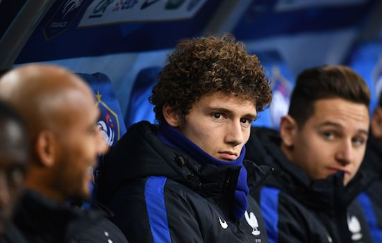 France's defender Benjamin Pavard (C) sits on the bench during the friendly football match between France and Wales at the Stade de France stadium, in Saint-Denis, on the outskirts of Paris, on November 10, 2017. / AFP PHOTO / FRANCK FIFE (Photo credit should read FRANCK FIFE/AFP/Getty Images)