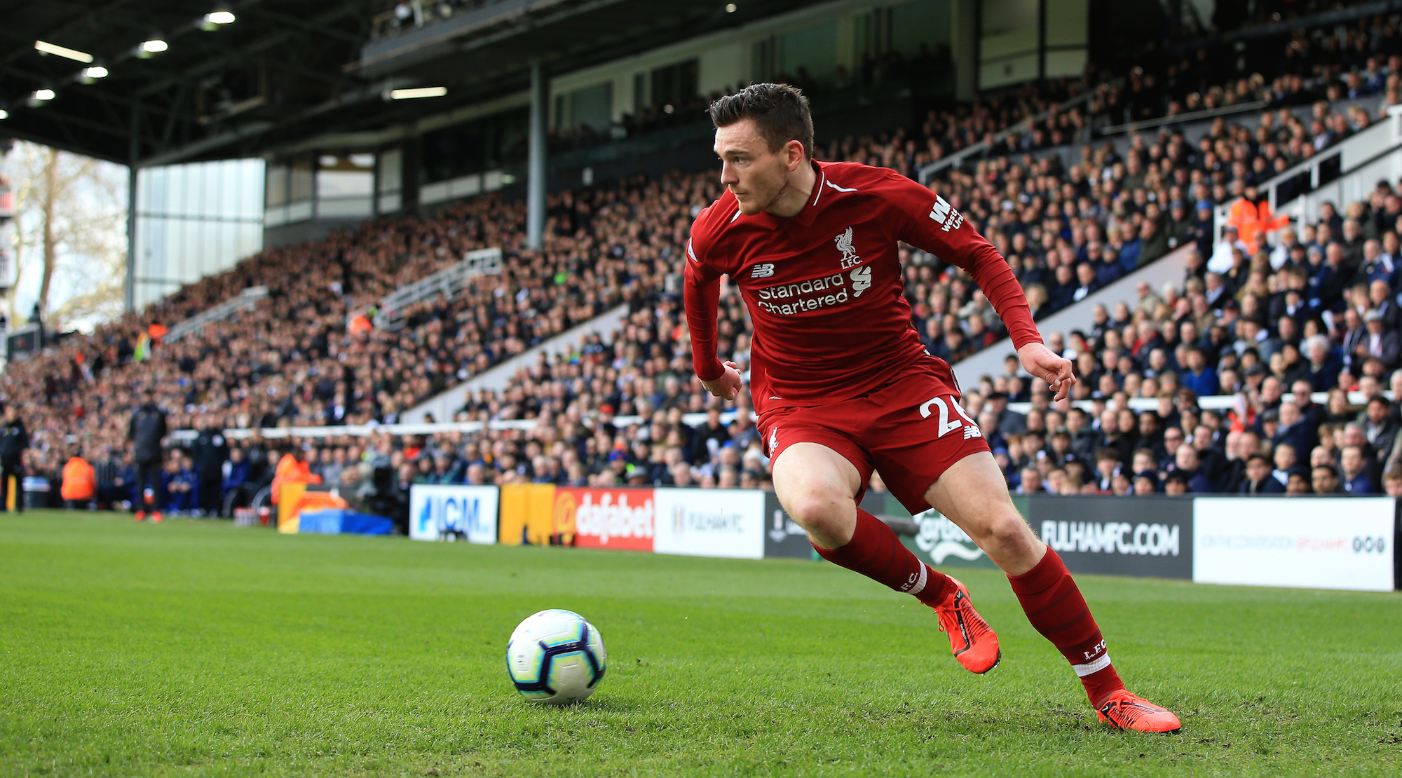 Andrew Robertson of Liverpool during the Premier League match between Fulham FC and Liverpool FC at Craven Cottage on March 17, 2019 in London, United Kingdom. (Photo by Marc Atkins/Getty Images)