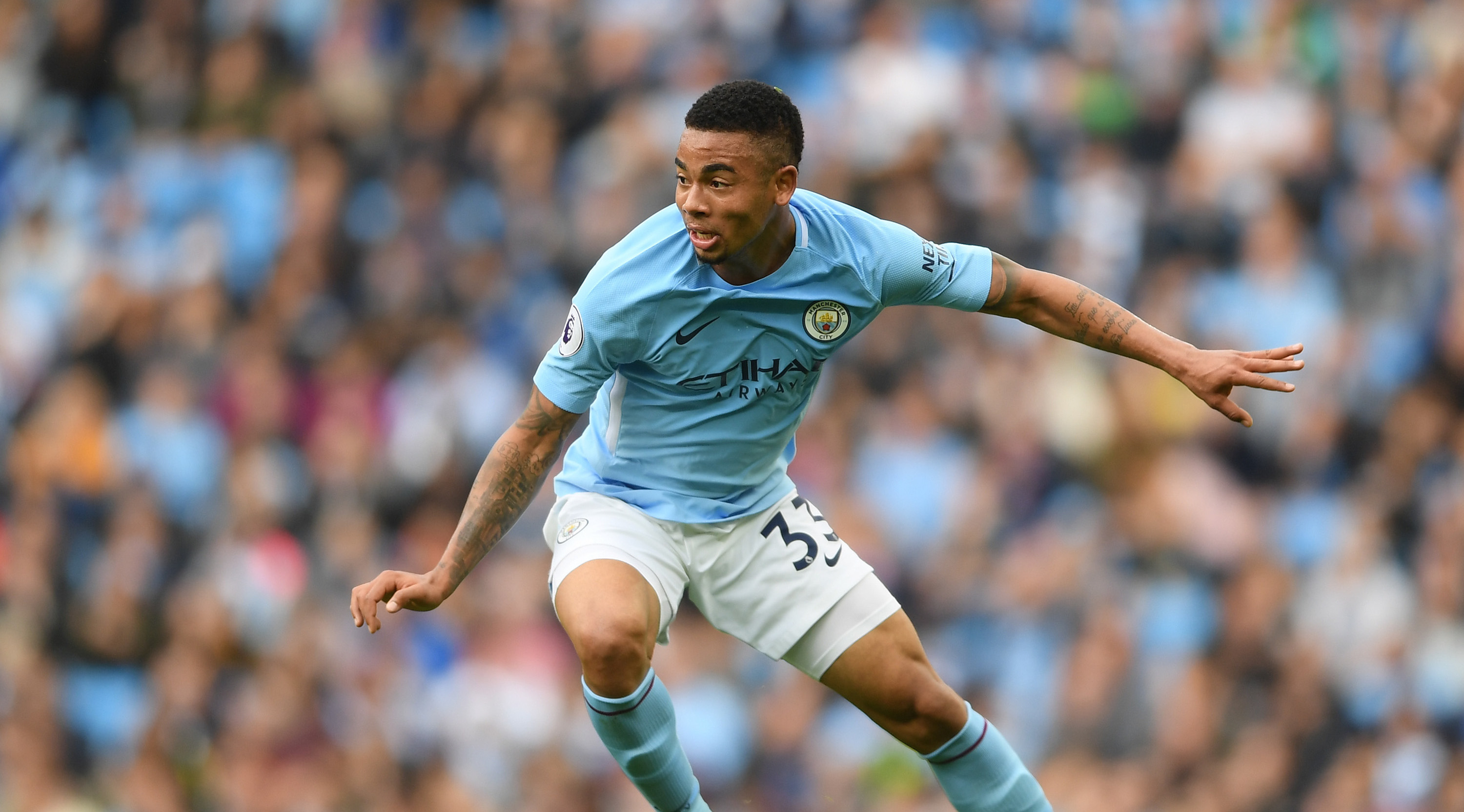 MANCHESTER, ENGLAND - OCTOBER 14: Gabriel Jesus of Manchester City in action during the Premier League match between Manchester City and Stoke City at Etihad Stadium on October 14, 2017 in Manchester, England. (Photo by Laurence Griffiths/Getty Images)