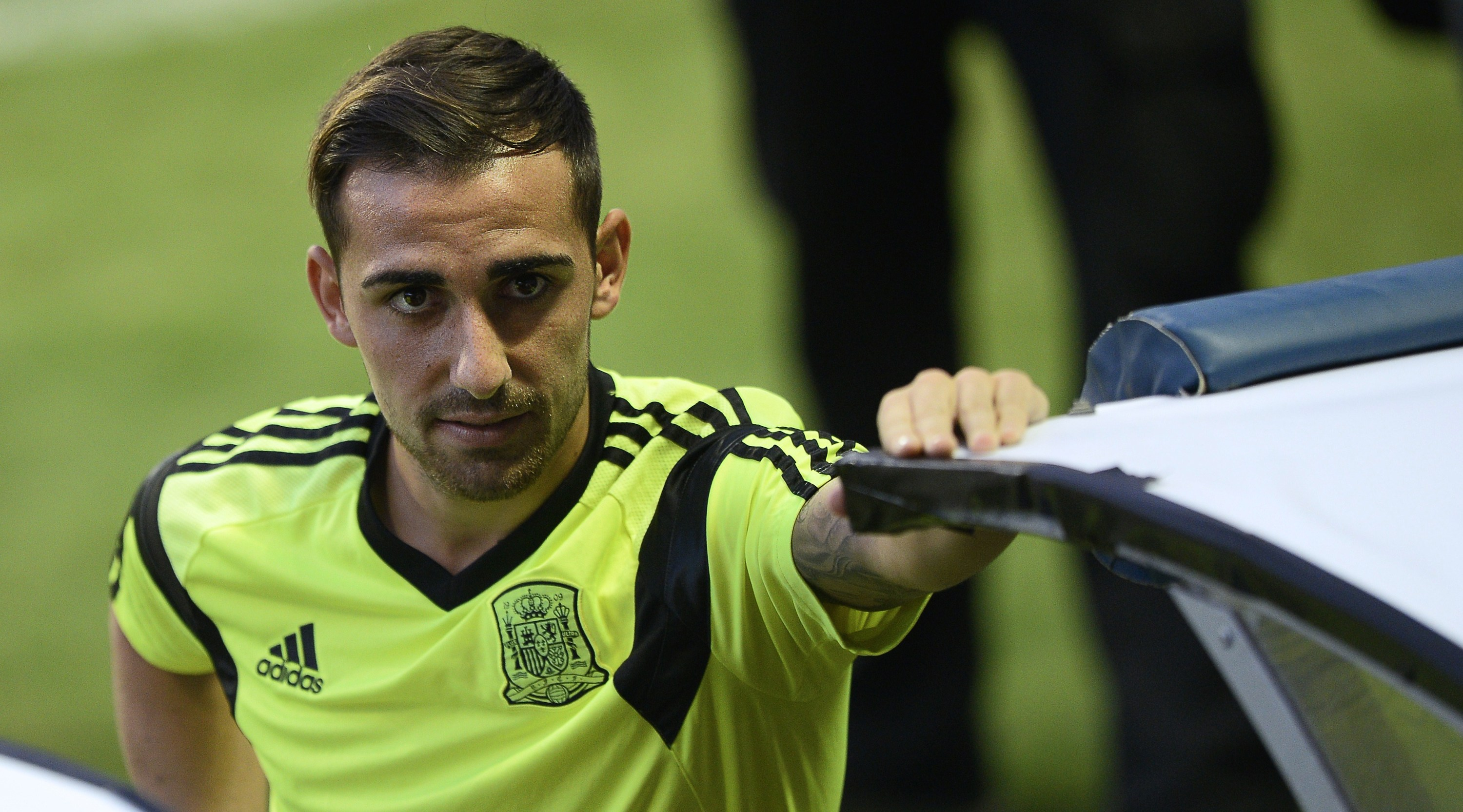 Spain's forward Paco Alcacer takes part in a training session at the Ciudad de Valencia stadium in Valencia on September 7, 2014, on the eve of the UEFA Euro 2016 group D qualifying football match Spain vs Macedonia. AFP PHOTO / JOSE JORDAN (Photo credit should read JOSE JORDAN/AFP/Getty Images)