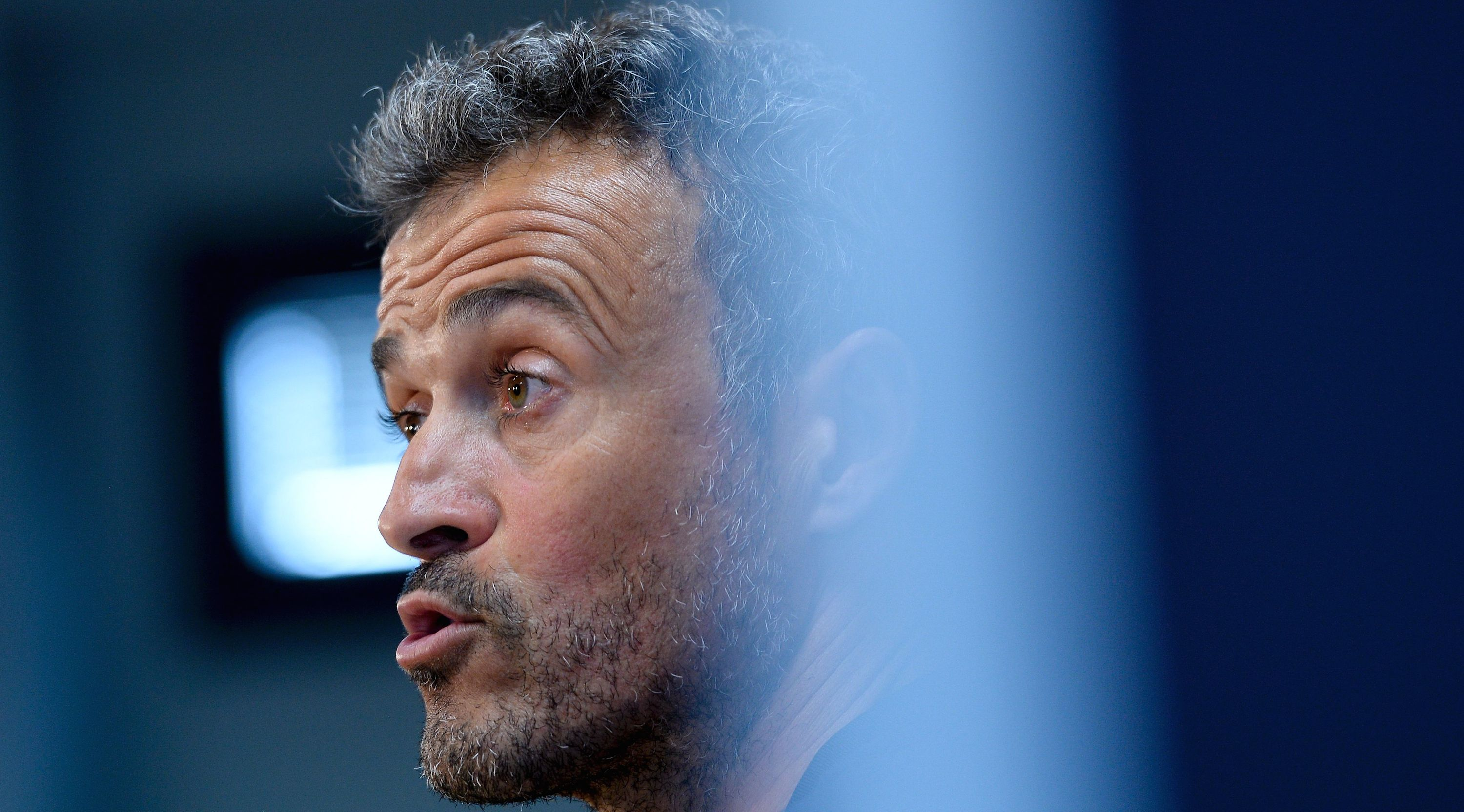 Barcelona's coach Luis Enrique answers to journalist during a press conference at the Sports Center FC Barcelona Joan Gamper in Sant Joan Despi, near Barcelona on September 20, 2016. / AFP / JOSEP LAGO (Photo credit should read JOSEP LAGO/AFP/Getty Images)