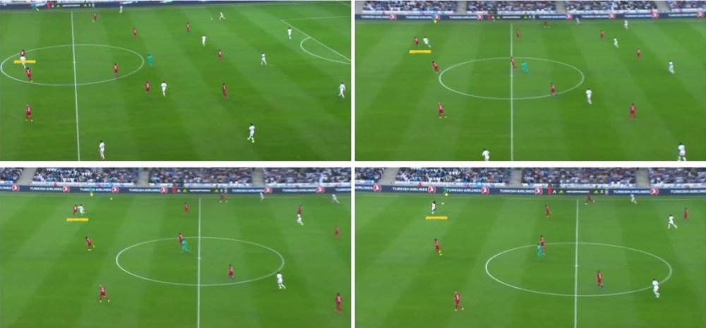 El juego de Samuel Umtiti. Cobertura a la espalda del lateral izquierdo.