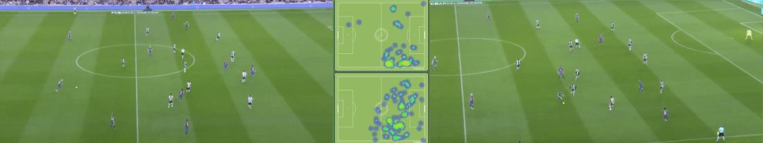- De izquierda a derecha, Dembélé interiorizando su posición, los mapas del francés (arriba) y Messi (abajo) y Sergi Roberto participando por dentro. (mapas vía squawka.com) -
