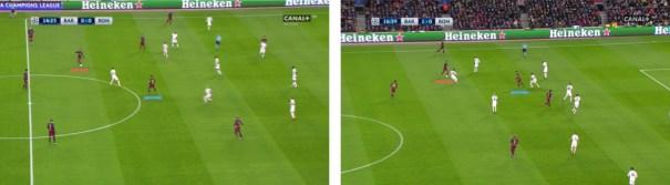 La posición de Neymar y Messi en el origen de los dos primeros goles.