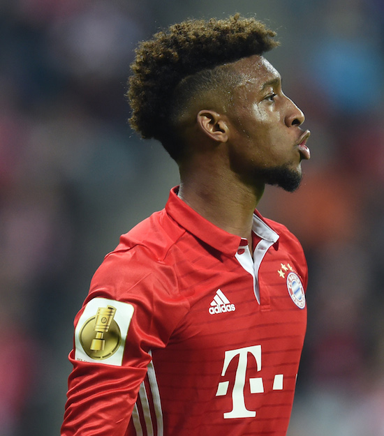 Bayern Munich's French forward Kingsley Coman reacts during the German Cup DFB Pokal second round football match FC Bayern Munich v FC Augsburg in Munich, southern Germany on October 26, 2016. / AFP / CHRISTOF STACHE / RESTRICTIONS: ACCORDING TO DFB RULES IMAGE SEQUENCES TO SIMULATE VIDEO IS NOT ALLOWED DURING MATCH TIME. MOBILE (MMS) USE IS NOT ALLOWED DURING AND FOR FURTHER TWO HOURS AFTER THE MATCH. == RESTRICTED TO EDITORIAL USE == FOR MORE INFORMATION CONTACT DFB DIRECTLY AT +49 69 67880 / (Photo credit should read CHRISTOF STACHE/AFP/Getty Images)