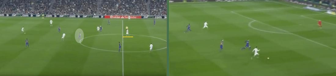 - Ganando la espalda a Busquets, Joaquín sacaba de la línea al central izquierdo del Barça, y éste a su vez abría espacios para el desmarque del delantero. -