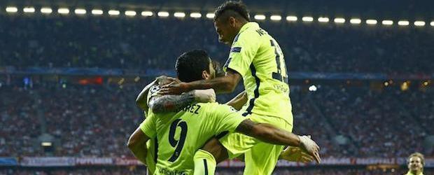 La calidad de Messi, Luis Suárez y Neymar, clave para que el Barça se clasificara en el Allianz pese a caer por 3-2.