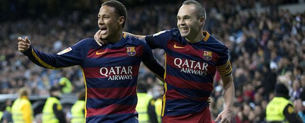 Neymar e Iniesta en el Santiago Bernabéu