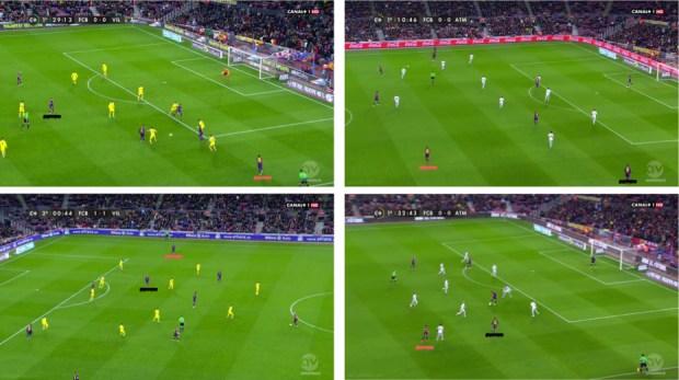 A la izquierda, dos capturas del Barça-Villarreal en las que se observa a Dani Alves actuando en banda mientras Messi ocupa el carril central. En las capturas de la derecha, sin embargo, ante el Atlético la banda es ocupada por el argentino mientras el lateral permanece por detrás del balón.