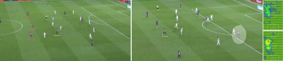 - La posición de Messi, próxima al mediocampo; el intercambio de alturas de Sergi Roberto con Leo; y los mapas de posición de Rakitic (abajo) en el primer tiempo y de Coutinho (arriba) en el segundo. -
