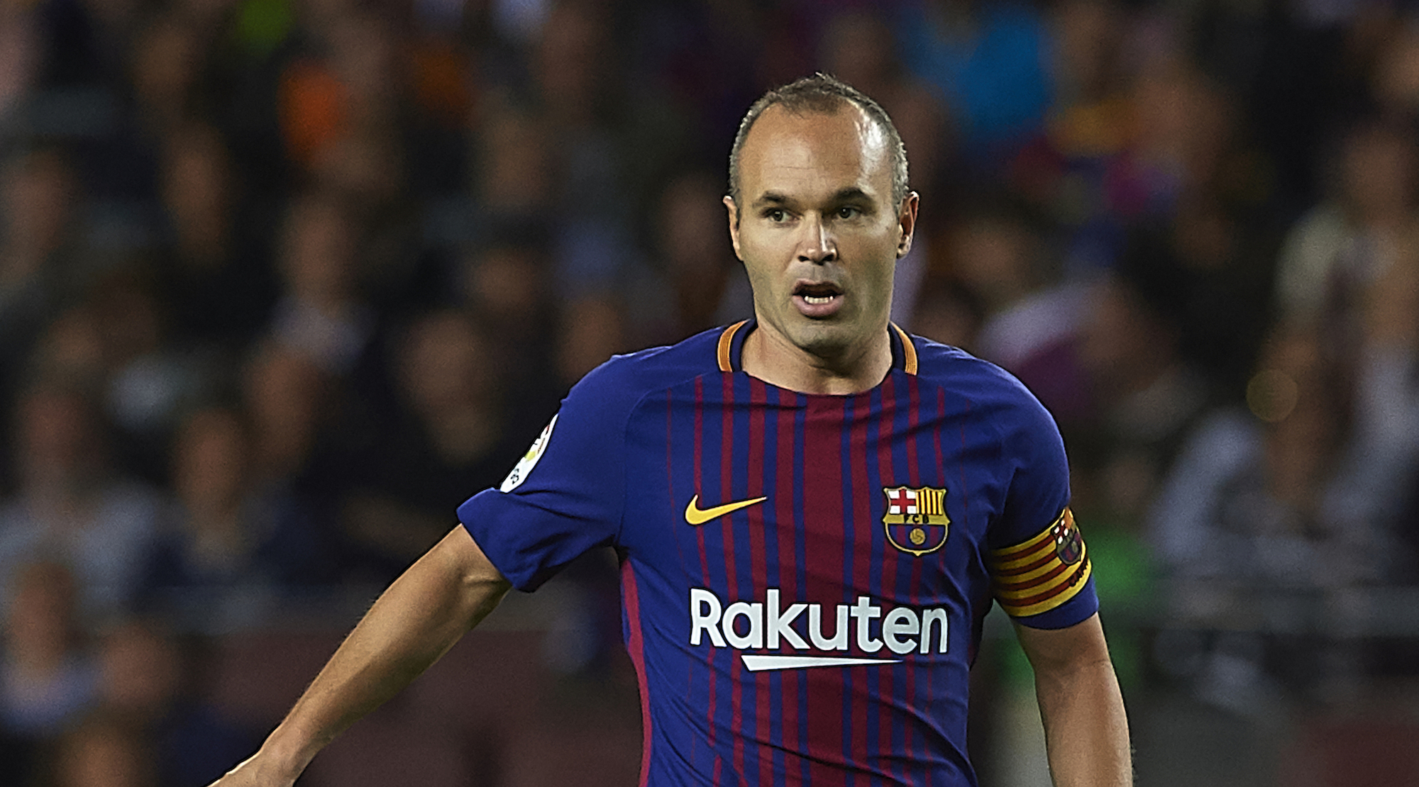 BARCELONA, SPAIN - SEPTEMBER 09: Andres Iniesta of Barcelona runs with the ball during the La Liga match between Barcelona and Espanyol at Camp Nou on September 9, 2017 in Barcelona, Spain. (Photo by Manuel Queimadelos Alonso/Getty Images)