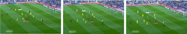 En este caso, la relación posicional entre Neymar e Iniesta llevó al brasileño (en rojo) a la corona del área y al manchego (en blanco) a amenazar la ruptura como si de un extremo profundo se tratara.