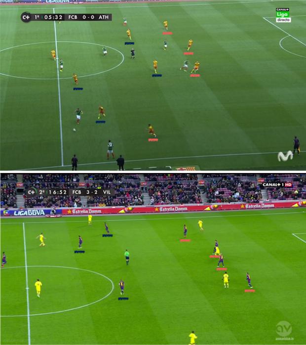 Arriba una captura del partido de la jornada 3 entre Barça y Athletic de Bilbao con el sistema antiguo. Abajo, una captura del Barça-Villarreal del pasado domingo.