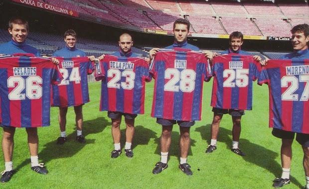 La Quinta del Mini. De izquierda a derecha: Celades, Roger, De la Peña, Toni Velamazán, Quique Álvarez y Juan Carlos Moreno.