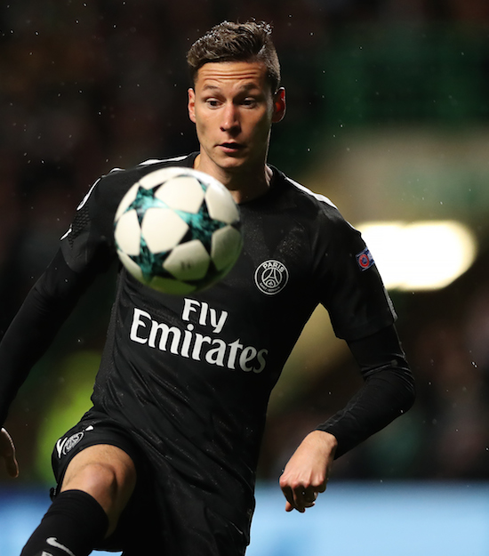 GLASGOW, SCOTLAND - SEPTEMBER 12: Julian Draxler of Paris Saint-Germain controls the ball during the UEFA Champions League Group B match Between Celtic and Paris Saint-Germain at Celtic Park on September 12, 2017 in Glasgow, Scotland. (Photo by Ian MacNicol/Getty Images)