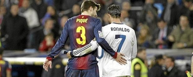 Gerard Piqué y Cristiano Ronaldo. Uno de los principales duelos que deparará el clásico.