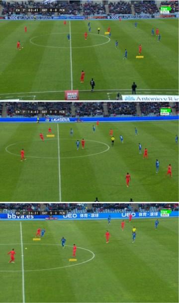 Arriba, el posicionamiento de Rakitic y Xavi a la espalda de la línea de medios del Getafe. En la imagen central, Xavi bajando a recibir de los centrales. Abajo, Xavi -izquierda- y Messi -derecha- como interiores por detrás de Sergio Busquets.