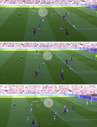 - El movimiento de arrastre de Denis Suárez para limpiar la diagonal Messi-Alba en la jugada del primer gol del Barça.-