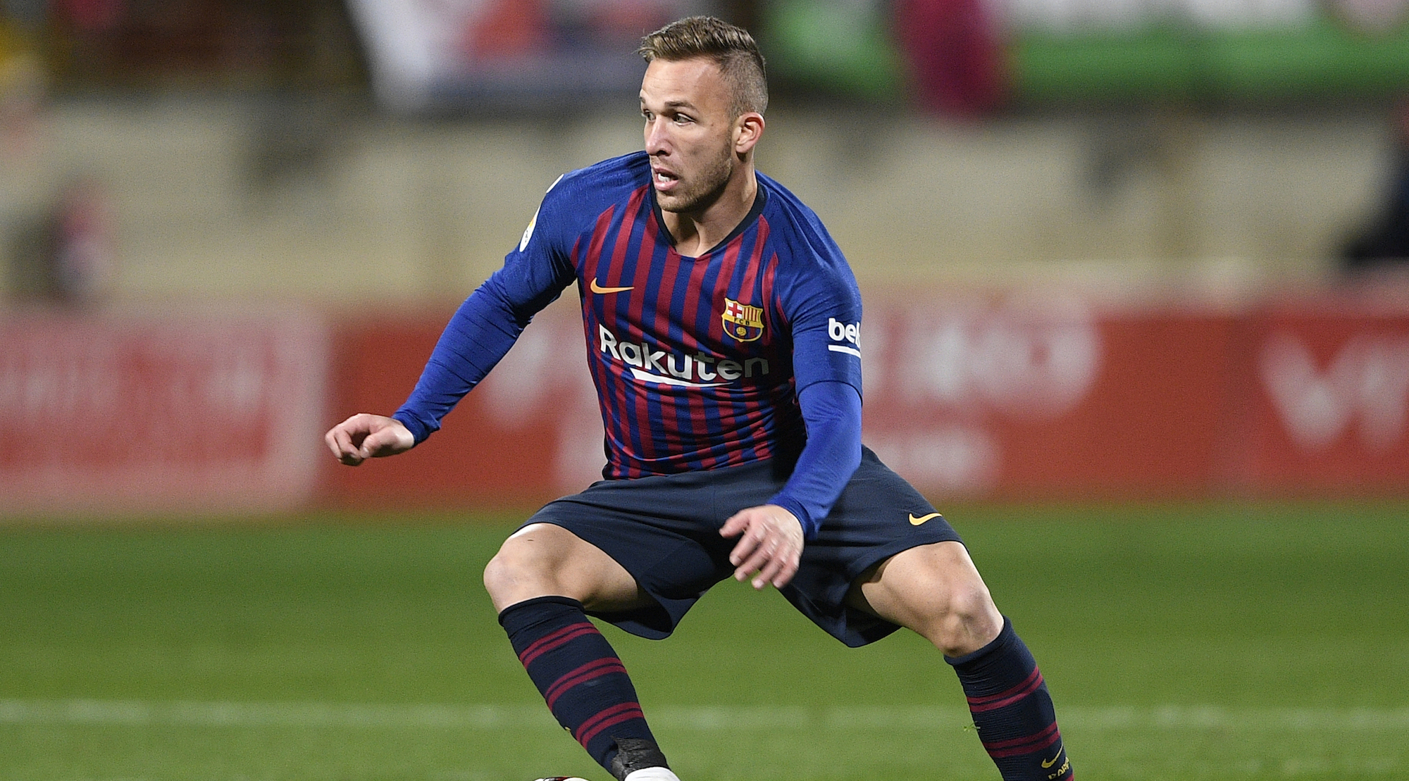Arthur of FC Barcelona in action during the Spanish Copa del Rey match between Cultural Leonesa and FC Barcelona at Estadio Reino de Leon on October 31, 2018 in Leon, Spain. (Photo by Octavio Passos/Getty Images)
