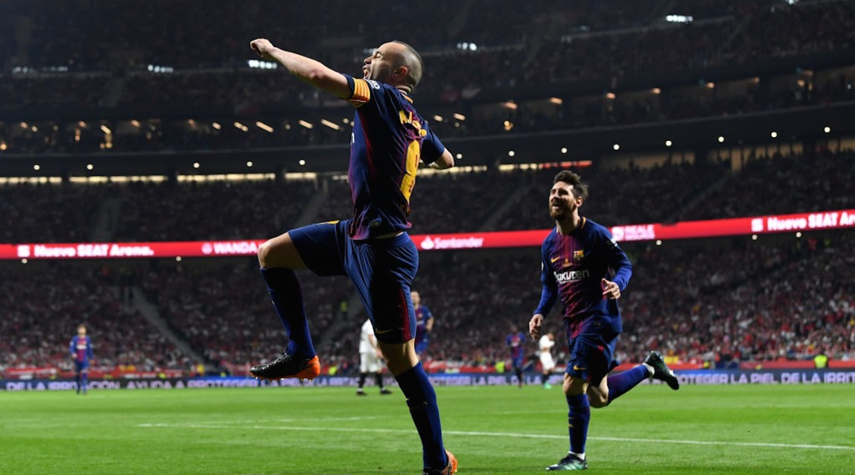 MADRID, SPAIN - APRIL 21: Andres Iniesta of Barcelona celebrates after scoring the teams fourth goal of the game during the Spanish Copa del Rey match between Barcelona and Sevilla at Wanda Metropolitano on April 21, 2018 in Barcelona, . (Photo by David Ramos/Getty Images)