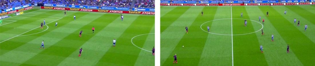 A la izquierda, la presión del Deportivo. A la derecha, su repliegue concentrado sobre el carril central.