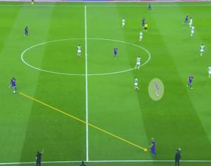 Sergi Roberto yendo hacia dentro para limpiar la conexión de salida entre Piqué y Messi.