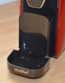 VonShef 1250w Nespresso Compatible Coffee Pod Machine - Drip tray and hopper.