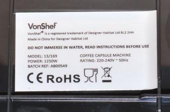 VonShef 1250w Nespresso Compatible Coffee Pod Machine - Base sticker.