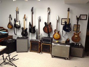 These are the amps and electric guitars I use for recording and practice. I really like the '70 Twin, the 7 watt Frugal Amp '66 Bassman, Fender Rumble, '75 Tele, Sheraton II, and both the fretted and unfretted Yamaha basses. My guitars and amps are available for your use at no charge.