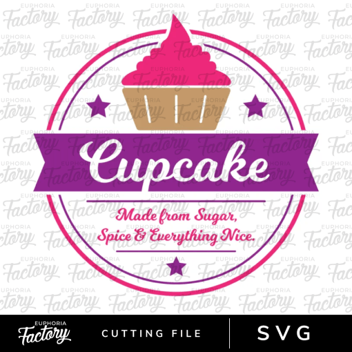 Cupcake made from sugar, spice, and everything nice downloadable SVG design.