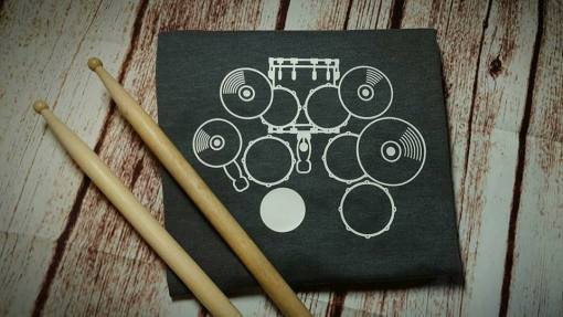 Heatbeat Drums SVG Design pressed on a tee shirt.
