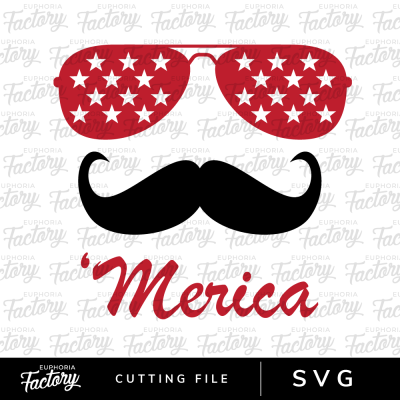 Merica with Glasses and Mustache SVG cutting design