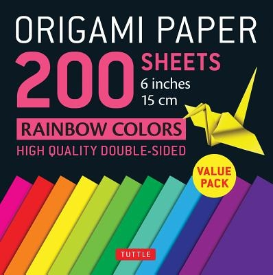 """Origami Paper 200 Sheets Rainbow Colors 6"""" (15 CM): Tuttle Origami Paper: High-Quality Double Sided Origami Sheets Printed with 12 Different Designs ("""