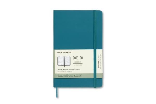 Moleskine 2019-20 Weekly Planner, 18m, Large, Magnetic Green, Hard Cover (5 X 8.25)